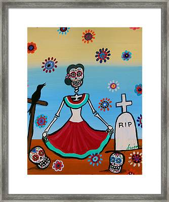 Frida Visiting The Grave Framed Print