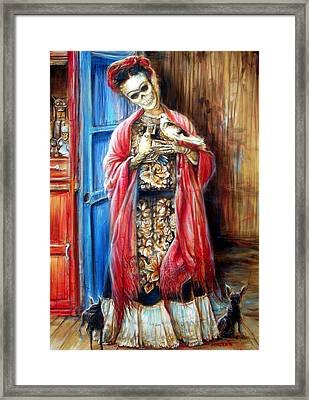 Frida With Doves Framed Print