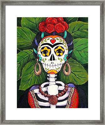 Frida With Roses Framed Print by Candy Mayer
