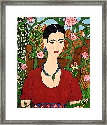 Frida With Vines Framed Print
