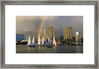 Friday Night Sailboat Race, Ala Wai Framed Print by Douglas Peebles
