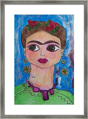 Friduchita Wearing My Beads Framed Print by Raquel Hinojosa