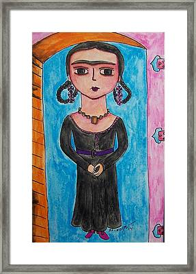 Little Goth Friduchita Framed Print by Raquel Hinojosa