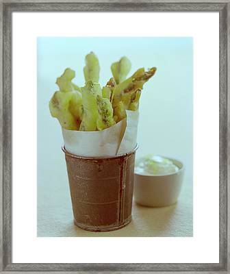 Fried Asparagus Framed Print by Romulo Yanes