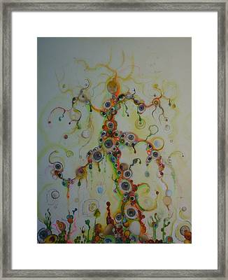 Framed Print featuring the mixed media Fried Pink Eyeballz by Douglas Fromm