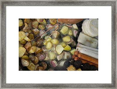 Fried Potatoes And Snacks On The Grill Framed Print