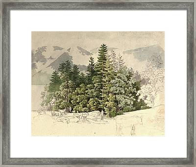 Friedrich Salathé, Swiss 1793-1858, Alpine Landscape Framed Print by Litz Collection