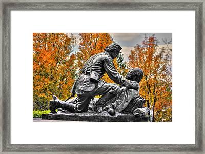 Friend To Friend - A Brotherhood Undivided - The Masonic Memorial At Gettysburg Close-2a Framed Print by Michael Mazaika