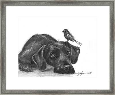 Framed Print featuring the drawing Friendly Hearts by J Ferwerda