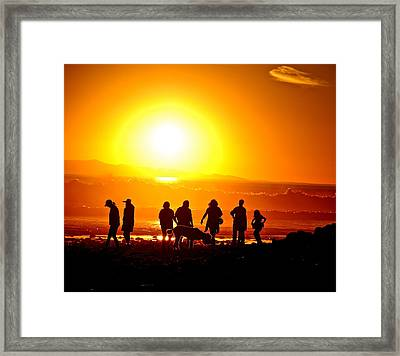 Friends At Sunset Framed Print by Liz Vernand