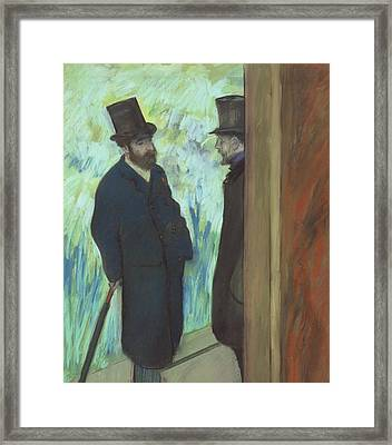 Friends At The Theater Framed Print by Edgar Degas