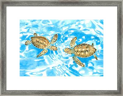 Friends Baby Sea Turtles Framed Print