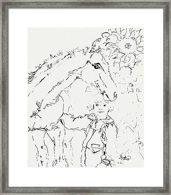 Friends For Life Ink Drawing Framed Print by Ginette Callaway