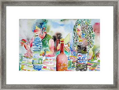 Friends Having Dinner Framed Print by Fabrizio Cassetta