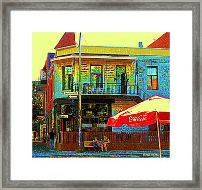 Friends On The Bench At Cartel Street Food Mexican Restaurant Rue Clark Art Of Montreal City Scene Framed Print by Carole Spandau