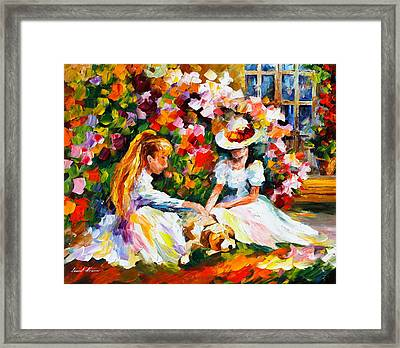 Friends With A Dog Framed Print by Leonid Afremov