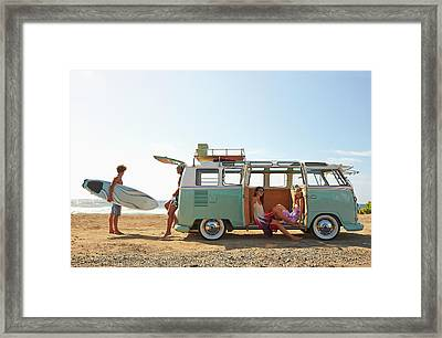 Friends With Van Relaxing On Beach Framed Print by Colin Anderson Productions Pty Ltd