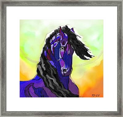 Friesian Stallion Framed Print
