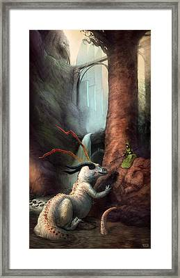 Frigga And The Water Dragon Framed Print by Ethan Harris