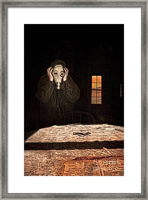 Frightened Person In Gas Mask Framed Print