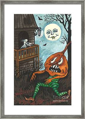 Frightened Pumpkinhead Framed Print by Margaryta Yermolayeva