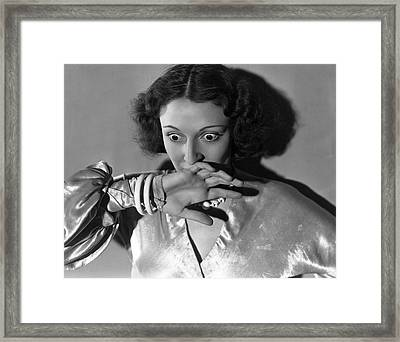 Frightened Young Woman Framed Print by Underwood Archives