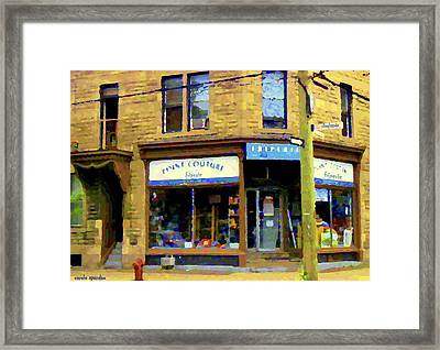 Friperie Point Couture Psc Rue Charlevoix South West Montreal Street Scene Art Carole Spandau Framed Print by Carole Spandau