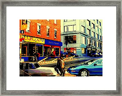 Friperie St.laurent Clothing Variety Dress Shop Downtown Corner Store City Scene Montreal Art Framed Print by Carole Spandau