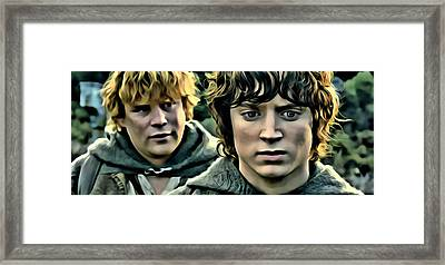 Frodo And Samwise Framed Print by Florian Rodarte