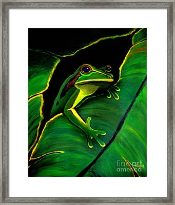 Frog And Leaf Framed Print by Nick Gustafson