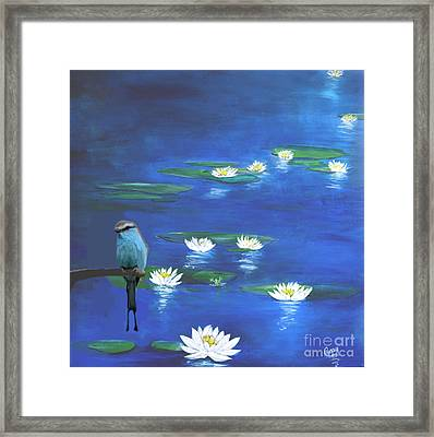 Frog And The Bluebird Framed Print