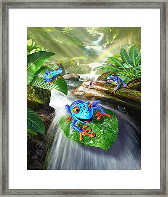 Frog Capades Framed Print by Jerry LoFaro
