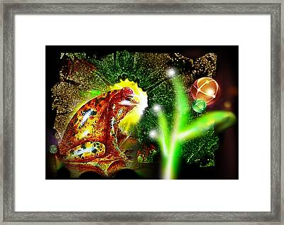 Framed Print featuring the mixed media Frog Dreaming by Hartmut Jager
