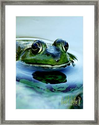 Green Frog I Only Have Eyes For You Framed Print by Carol F Austin
