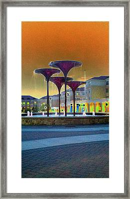 Frog Fountain Jazzed Framed Print