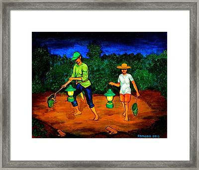 Frog Hunters Framed Print