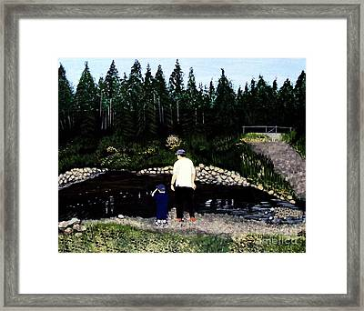 Frog Hunting With Poppy Framed Print by Barbara Griffin