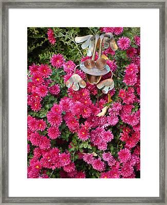 Frog In Flowers Framed Print by Sanford