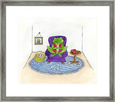 Frog In Purple Chair Framed Print