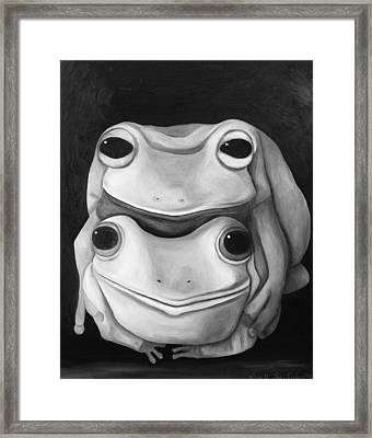Frog Love-the Embrace Edit 2 Framed Print by Leah Saulnier The Painting Maniac