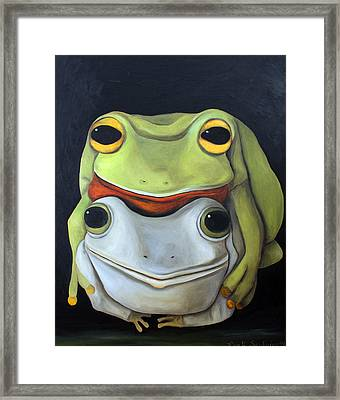 Frog Love-the Embrace Framed Print by Leah Saulnier The Painting Maniac