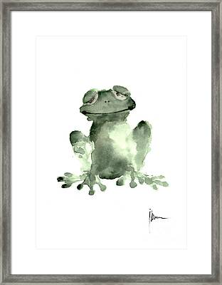 Frog Painting Watercolor Art Print Green Frog Large Poster Framed Print
