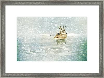 Frog Prince In The Rain Framed Print by Heike Hultsch
