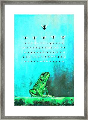 Frog With Flies In Space Invaders Formation Framed Print