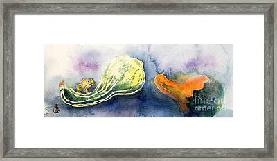 Froggy And Gourds Framed Print