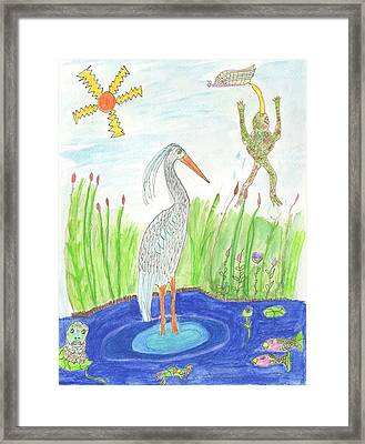 Froggy Fishing Framed Print