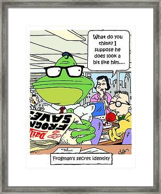 Frogman's Secret Identity Framed Print by Stephen Daniels