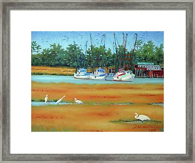 Framed Print featuring the painting Frogmore Boats by Dwain Ray