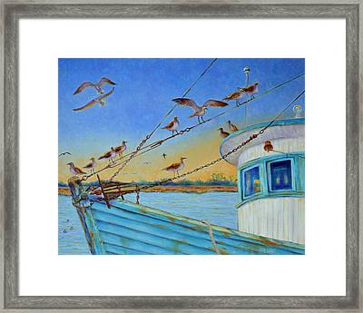 Framed Print featuring the painting Frogmore Shrimp Birds by Dwain Ray