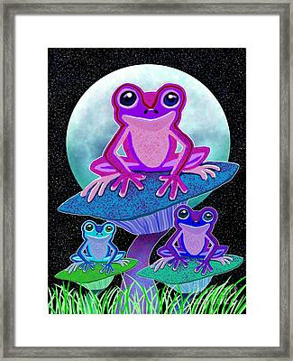 Frogs In The Moonlight Framed Print